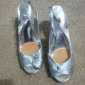 Silver platform shoes size 11